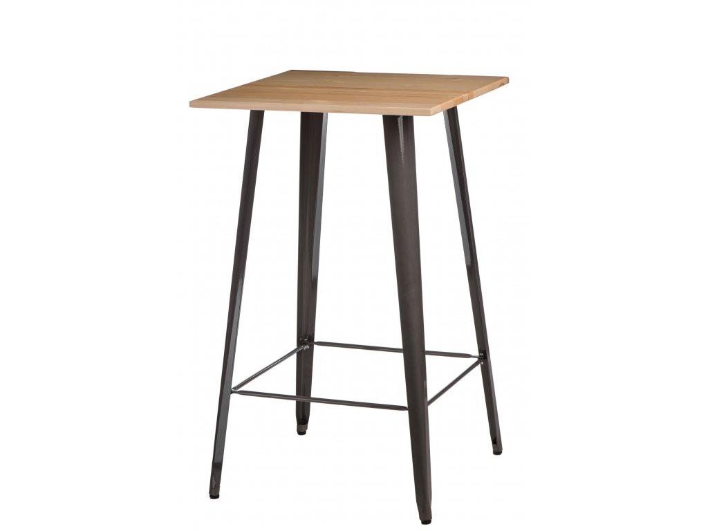 Designový barový stůl Tolix z kovu a s dřevěnou borovicovou deskou