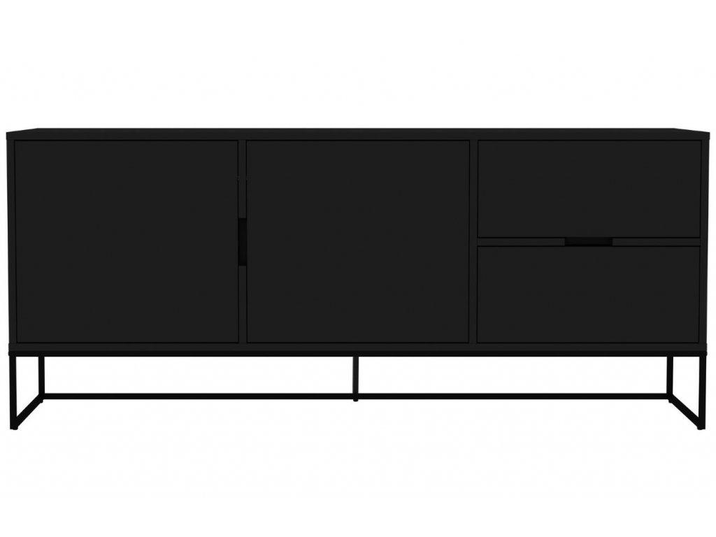Matně černá lakovaná komoda Tenzo Lipp I. 176,5 x 43 cm