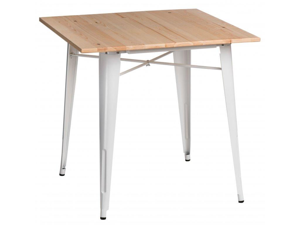 Jídelní stůl Tolix 76x76,bíá/borovice