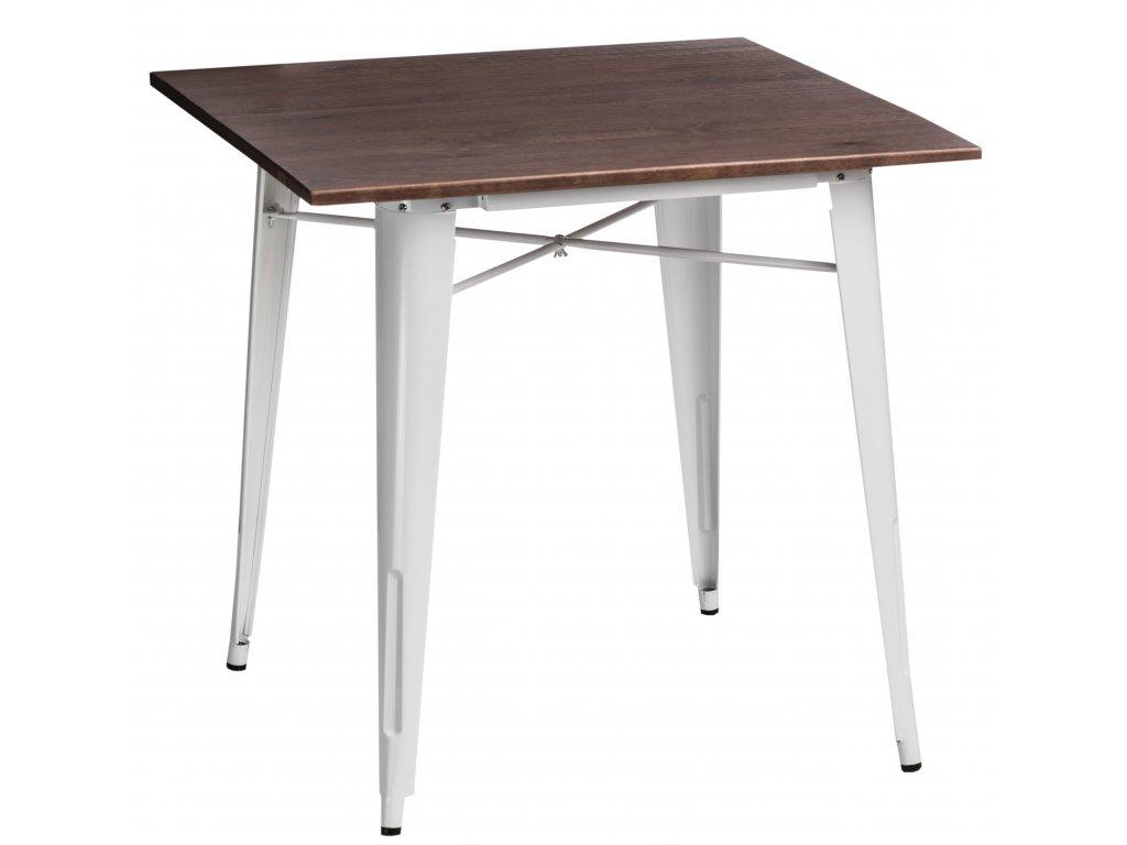 Jídelní stůl Tolix 76x76, bílá/ořech