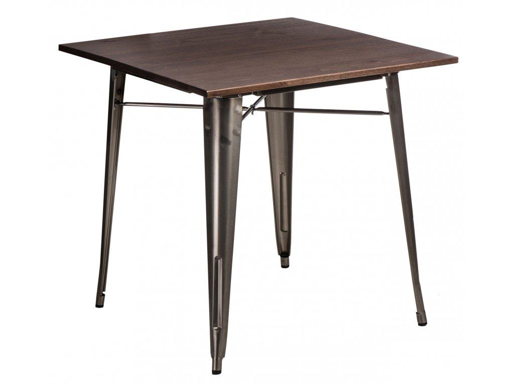 Jídelní stůl Tolix 76x76, metalická/ořech