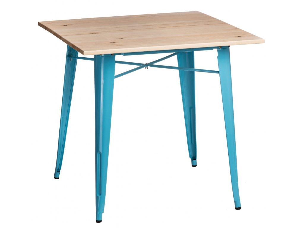 Jídelní stůl Tolix 76x76, modrá/borovice
