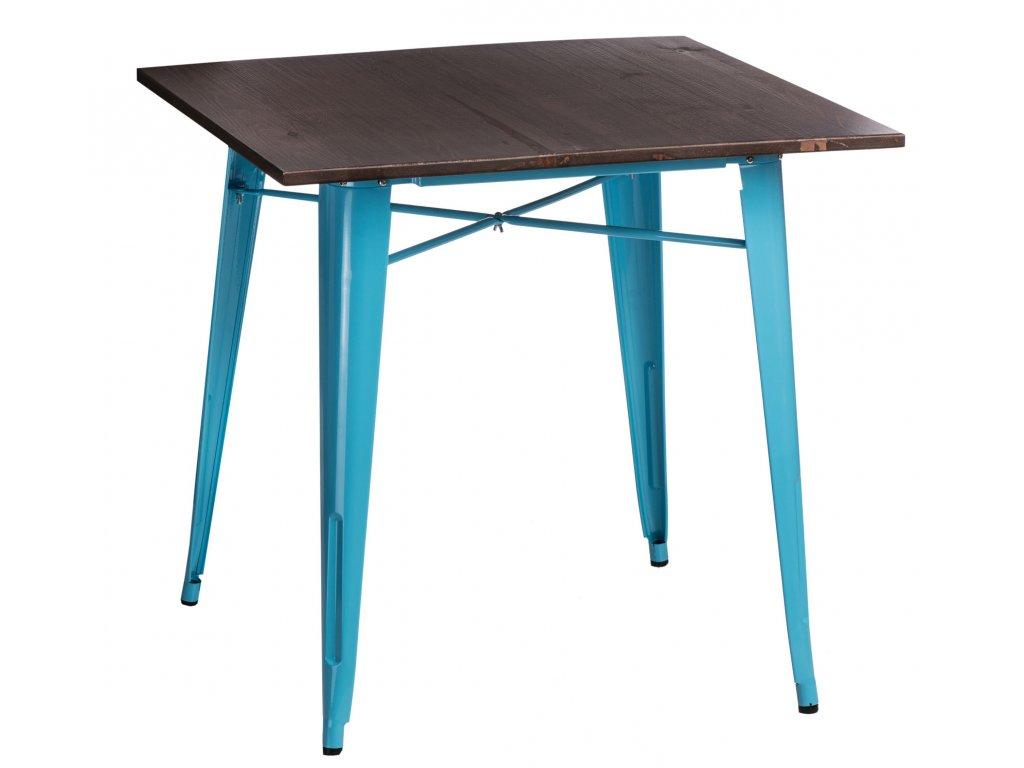 Modrý kovový jídelní stůl Tolix 81 x 81 cm s borovicovou deskou