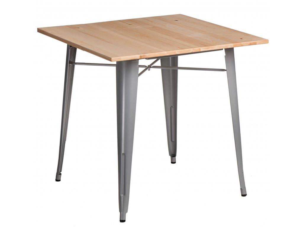 Jídelní stůl Tolix 76x76, šedá/borovice