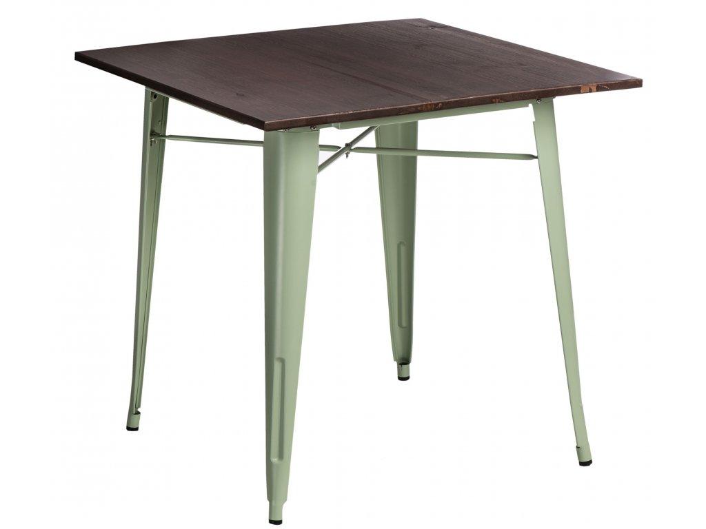 Jídelní stůl Tolix 76x76, světle zelená/ořech