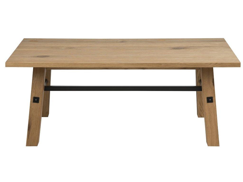 Dubový konferenční stolek Kiruna 117 cm, lakovaná dubová dýha, podnož z masivního dubového dřeva, černě lakovaný kov