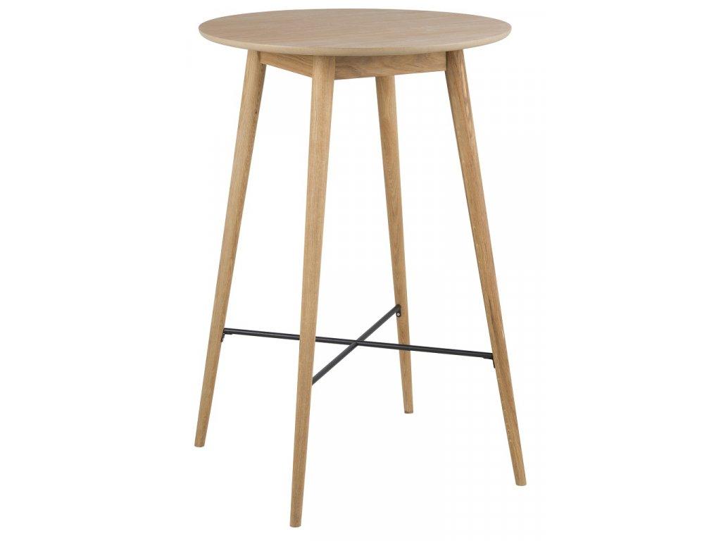 Hnědý dubový barový stůl Nagy 70 cm, masivní dubové dřevo, dubová dýha, kovový kříž lakovaný černým lakem