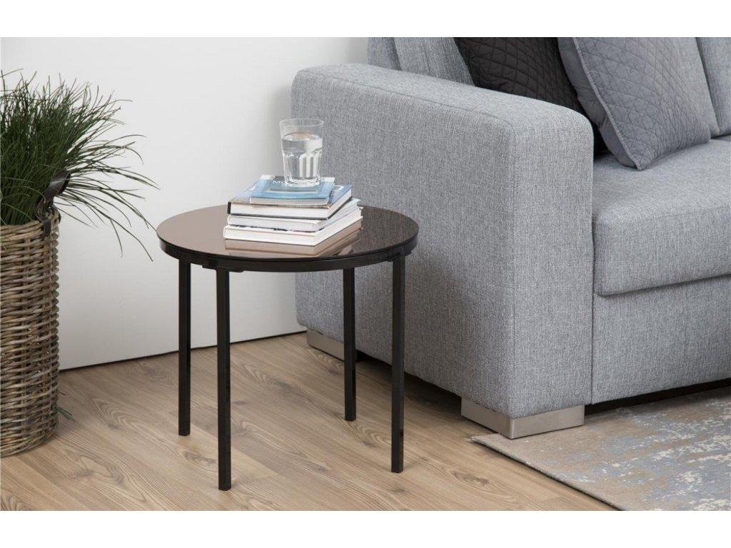 Skleněný měděný odkládací stolek Hood 50 cm , bezpečnostní sklo, lakovaný kov