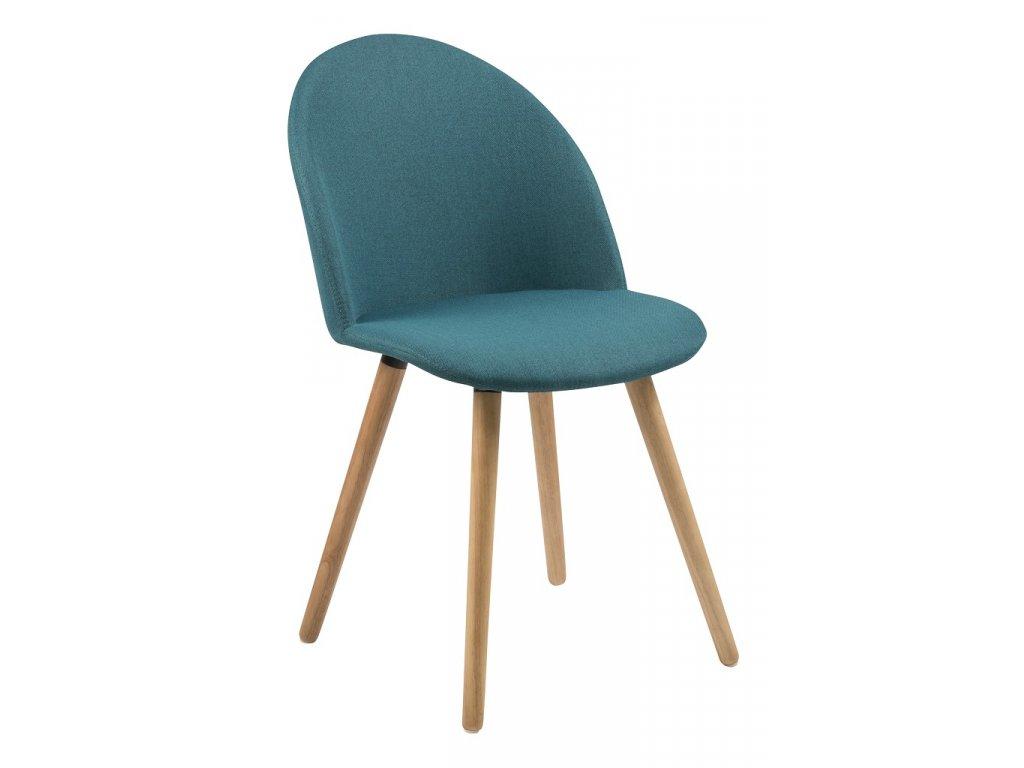 Petrolejově modrá zelená čalouněná látková jídelní židle Aneta s dřevěnou podnoží