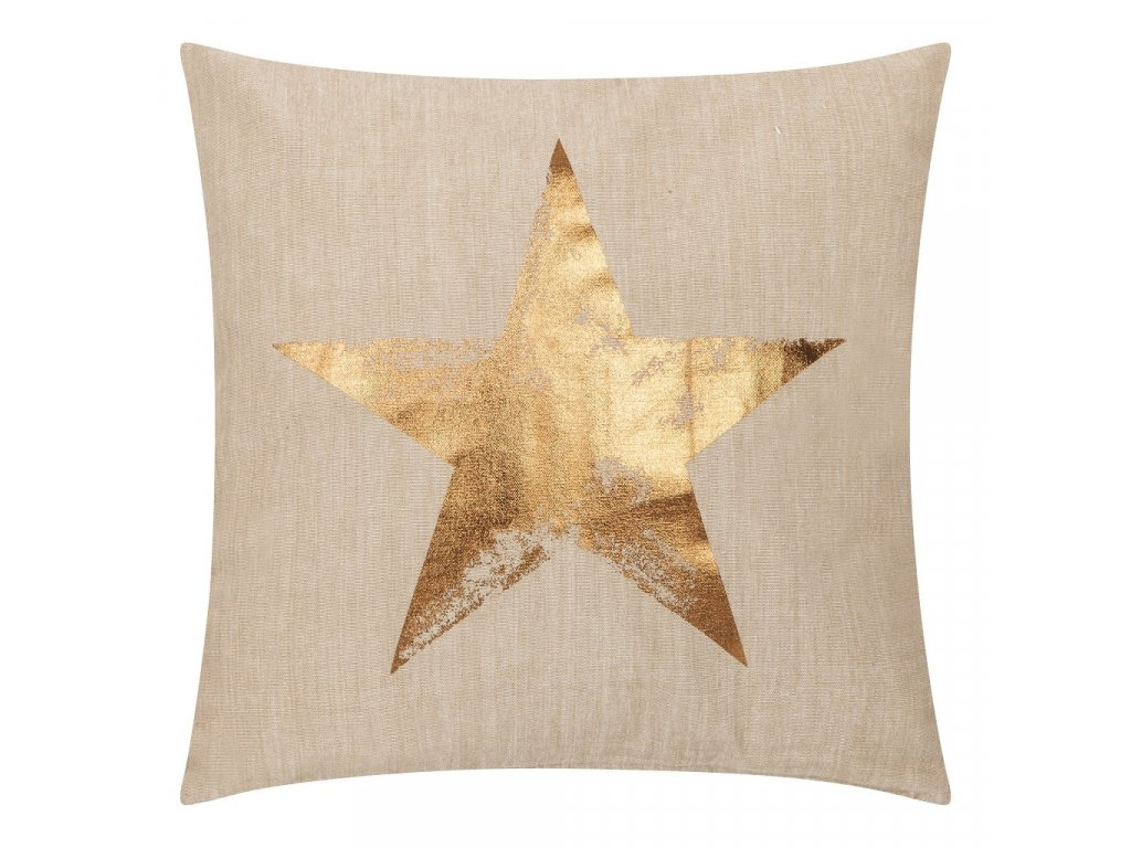 Béžový bavlněný látkový polštář Star 45x45 cm