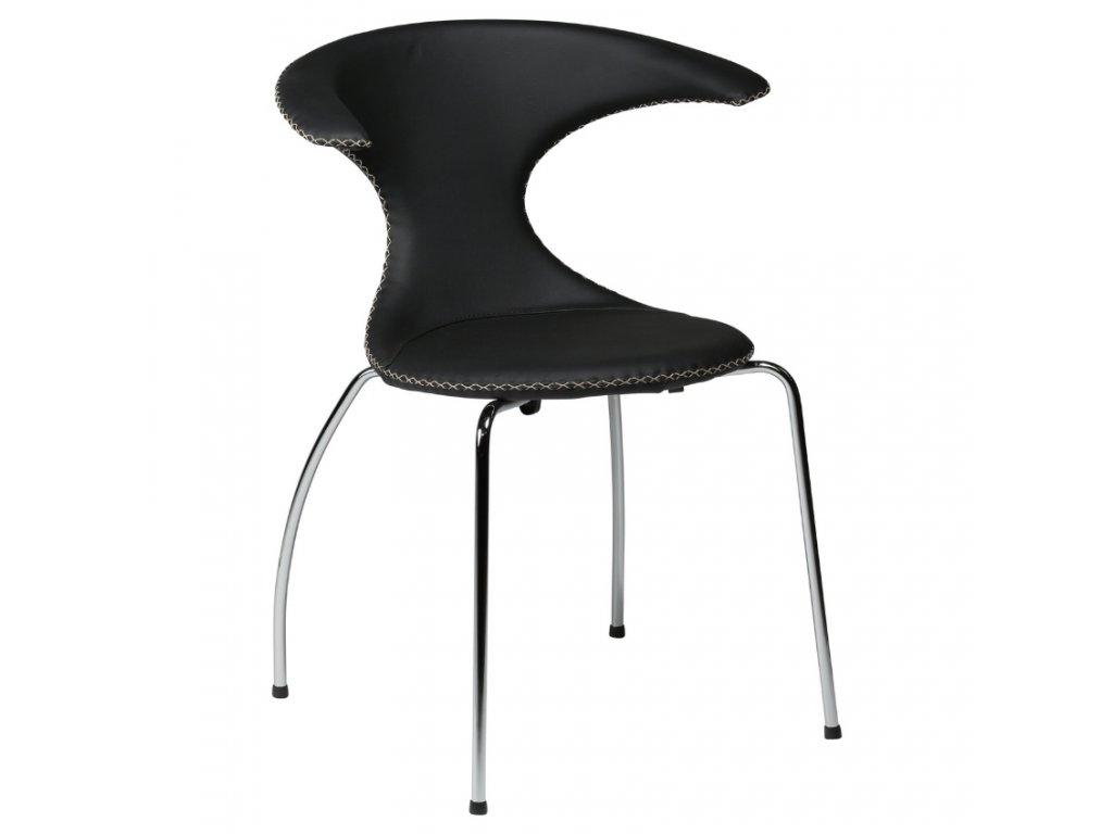 Černá kožená jídelní židle DanForm Flair s chromovanou podnoží