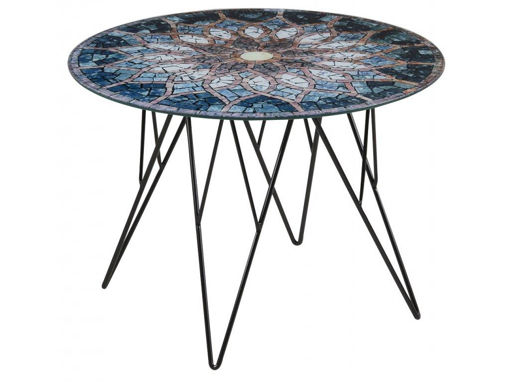 Skleněný mozaikový konferenční stolek Stark 55 cm, sklo s potiskem mozaiky, černě lakovaná kovová podnož