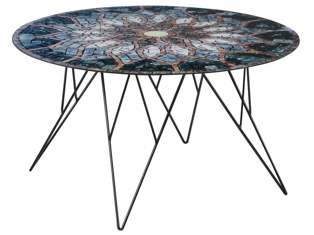 Skleněný mozaikový konferenční stolek Stark 80 cm, sklo s mozaikovým potiskem, černě lakovaný kov