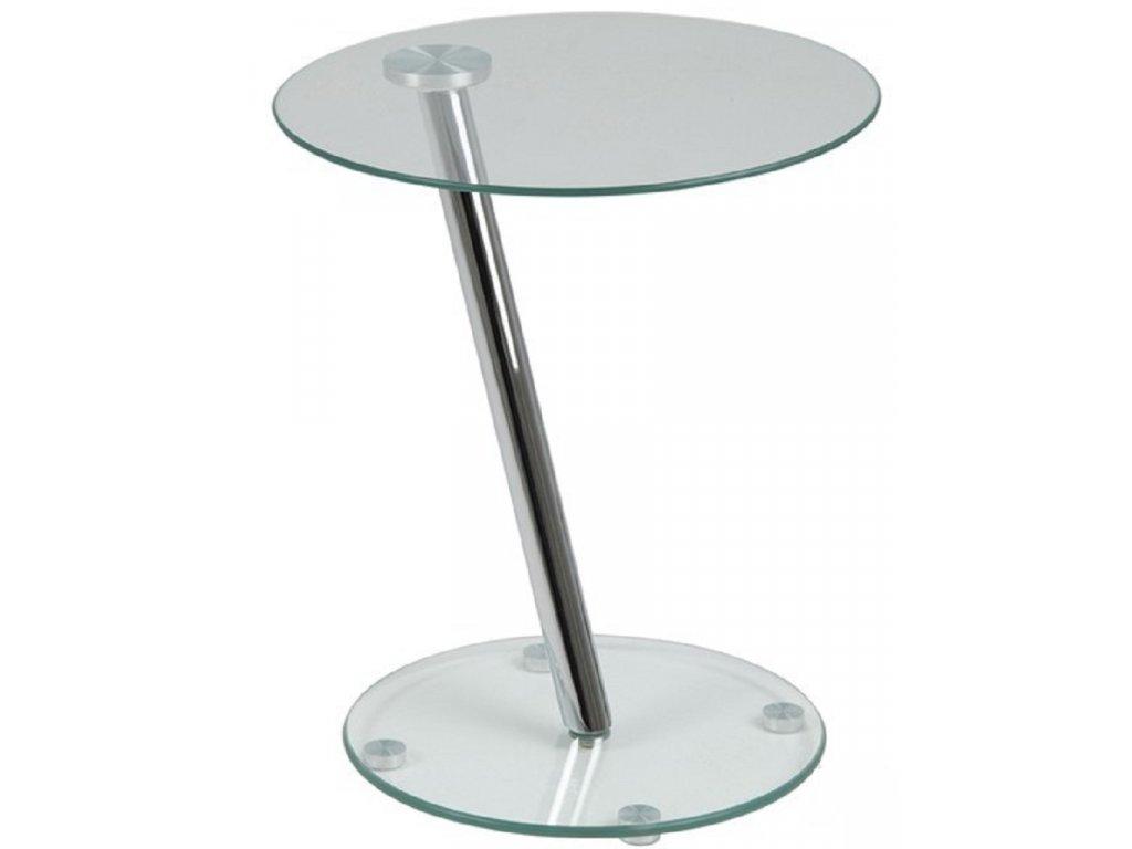 Transparentní skleněný odkládací stolek Trisha, bezpečnostní sklo, chromovaný kov