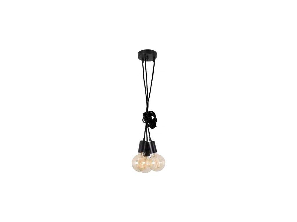 Černé závěsné světlo Spider 3 žárovky