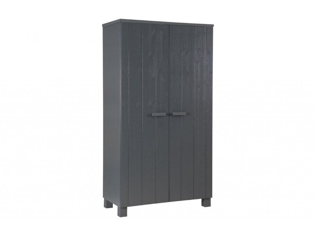 Tmavě šedá dřevěná skříň Koben 111 cm