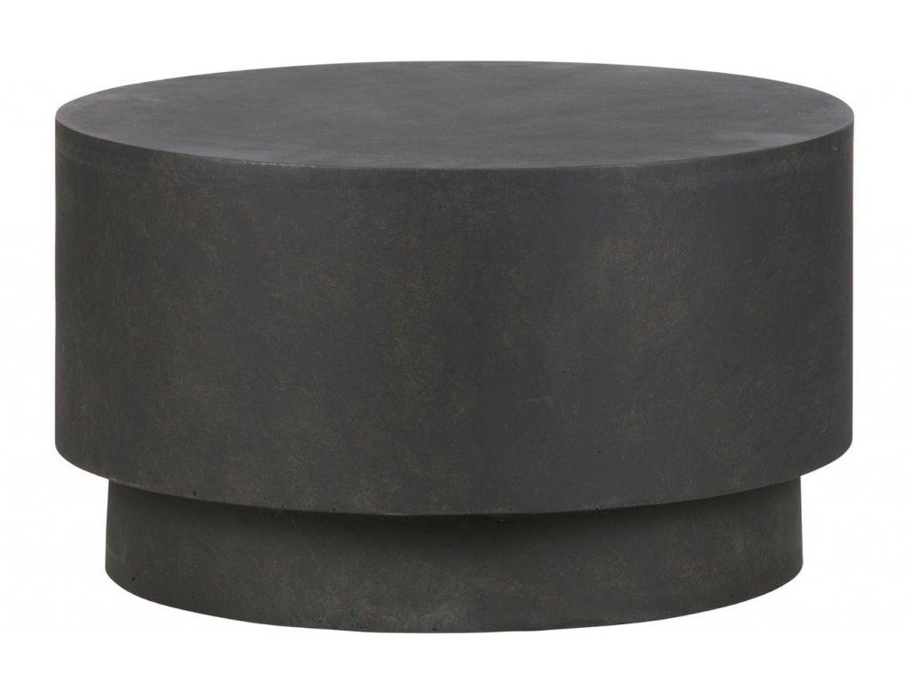 Tmavě hnědý kulatý odkládací stolek James 60 cm