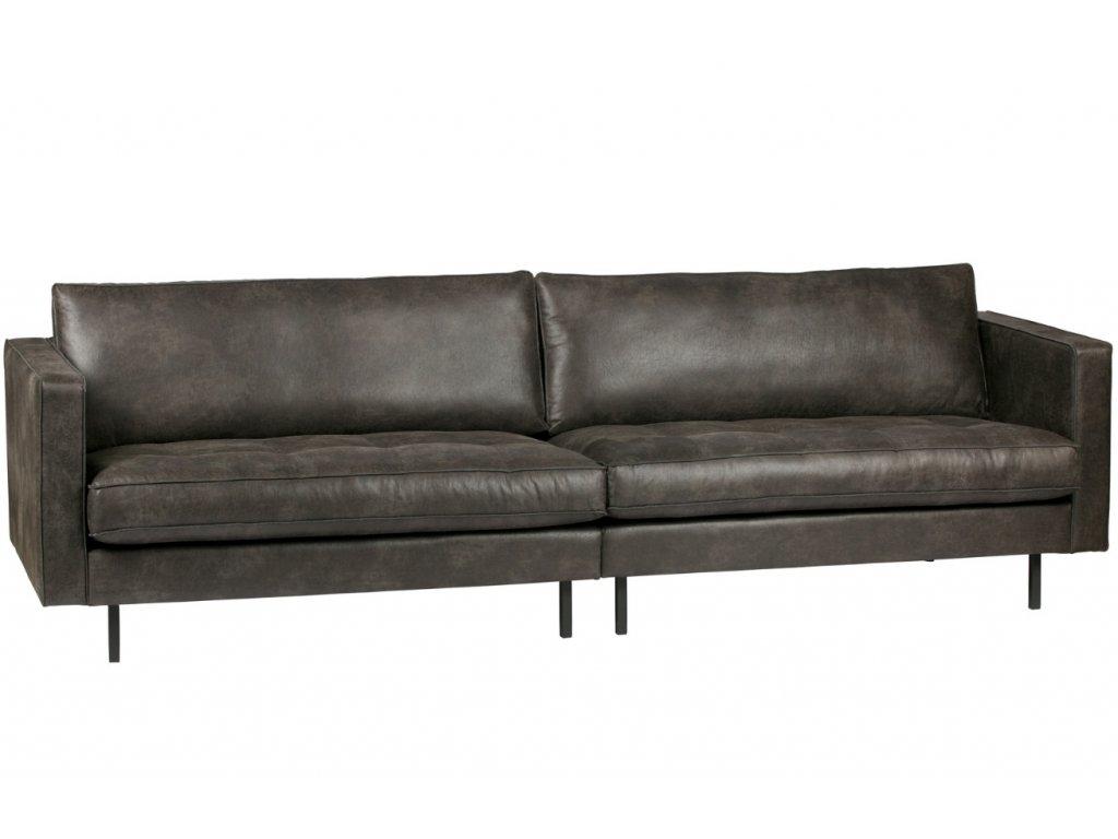 Černá čalouněná pohovka Raden 275 cm z regenerované kůže