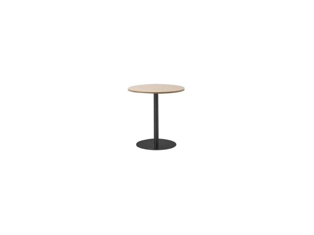 Přírodní kulatý stolek MARBET LOBO s černou podnoží