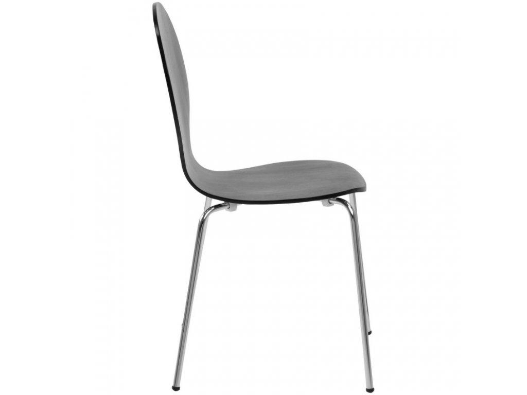 Černá dřevěná jídelní židle Line, dřevěná překližka, kovová podnož
