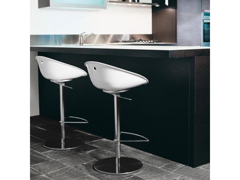 Bílá plastová barová židle Gliss 970