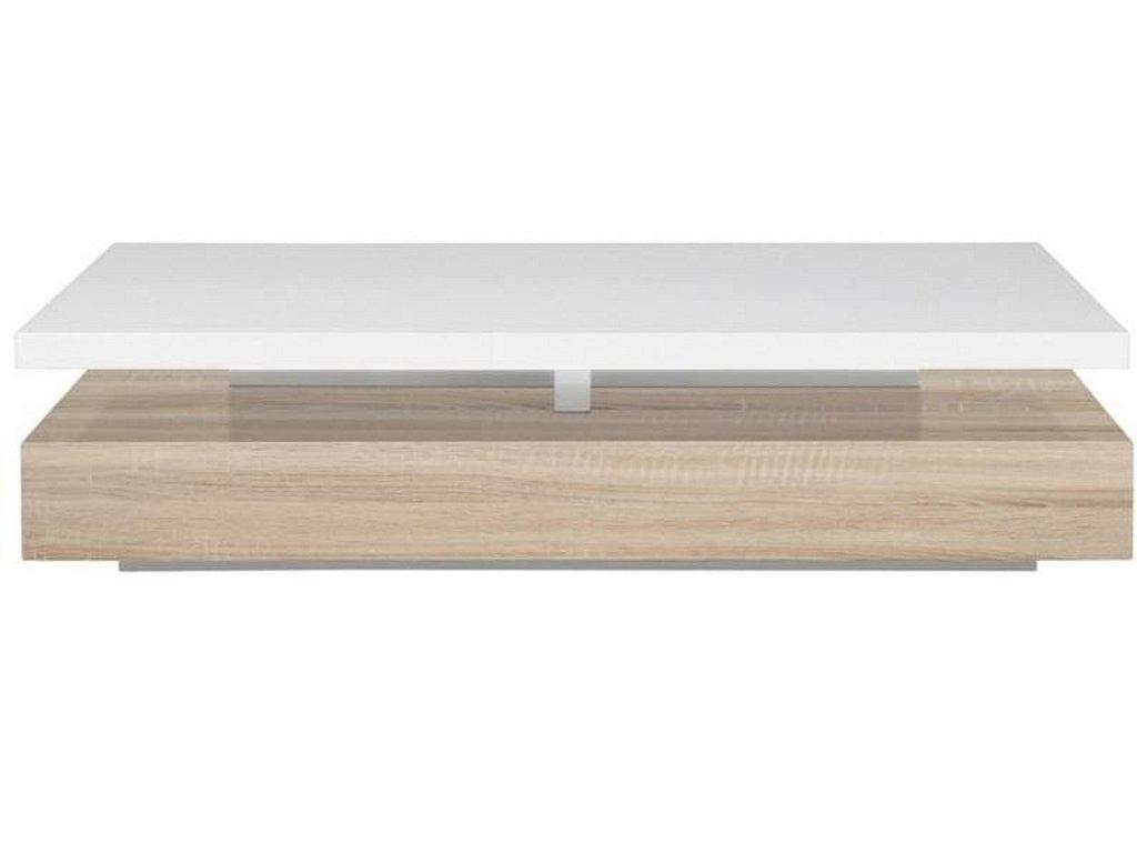 Bílý konferenční stolek Agate, lakované MDF bílým lakem ve vysokém lesku, MDF v barvě dubu
