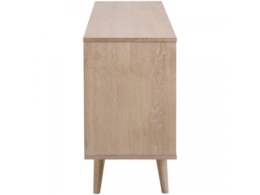 Dubová komoda Nagy 150 cm,dubová dýha, MDF, masivní dubové dřevo ošetřeno olejem s bílým pigmentem