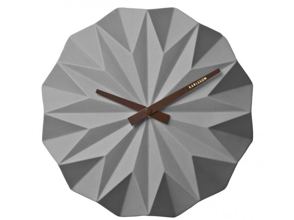 Šedé keramické nástěnné hodiny Crane 27 cm