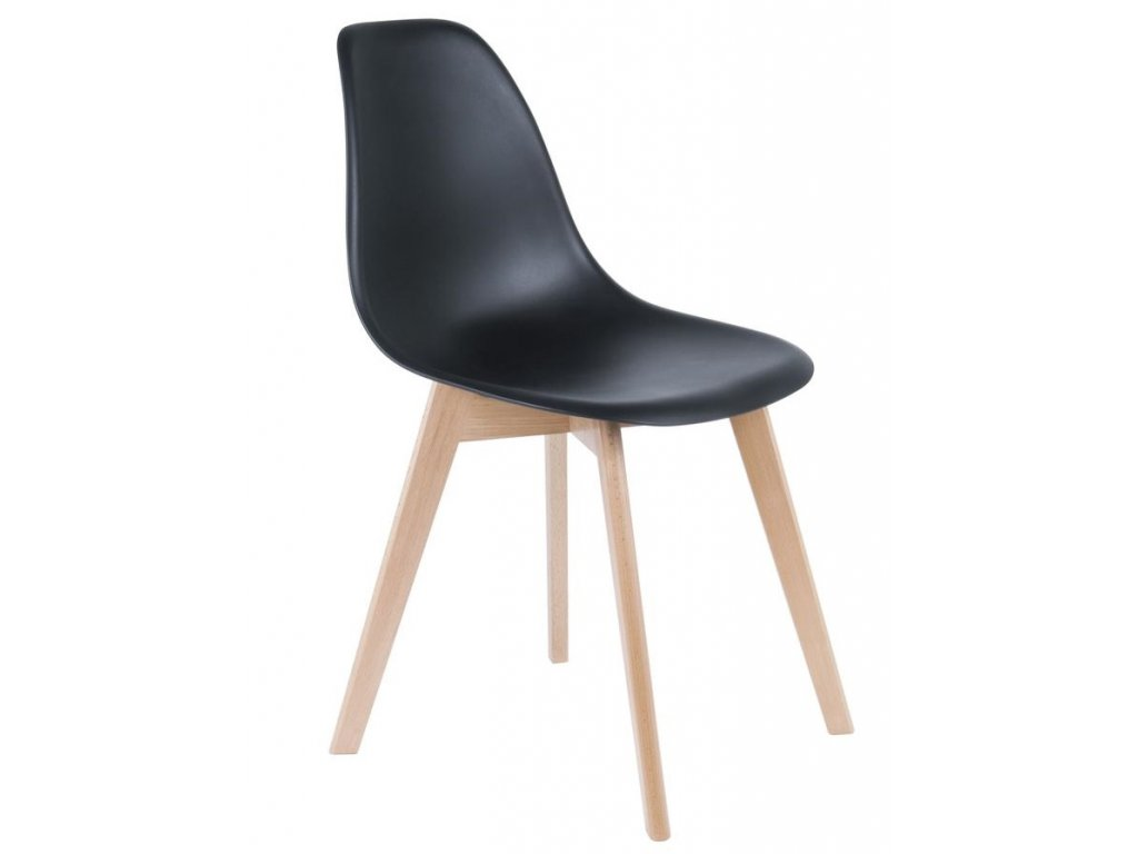 Černá plastová jídelní židle Artas s bukovou podnoží