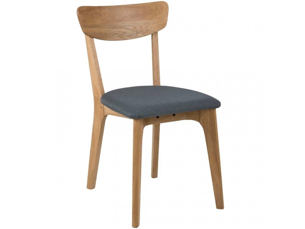 Šedá látková jídelní židle Costa, masivní dubové dřevo ošetřeno olejem