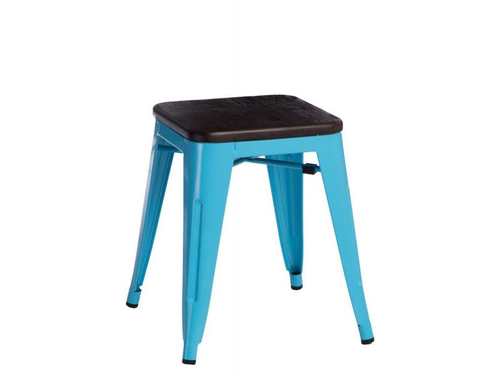 Designová modrá kovová stolička Tolix 45 se sedákem z kartáčovaného dřeva
