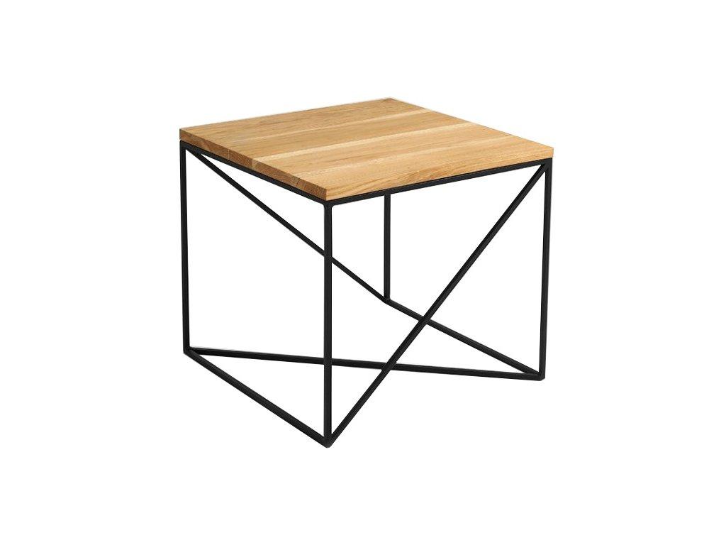 Dubový konferenční stolek Mountain 50 cm s černou podnoží s kovovou podnoží
