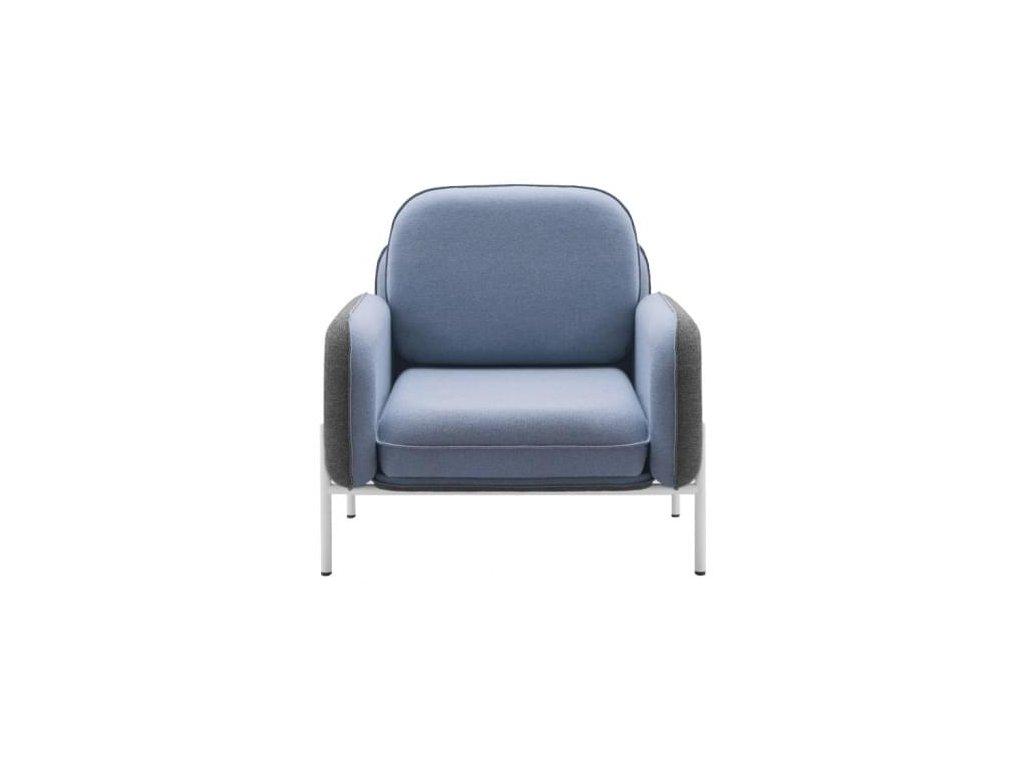 Modré látkové křeslo MARBET CORBU se šedou podnoží
