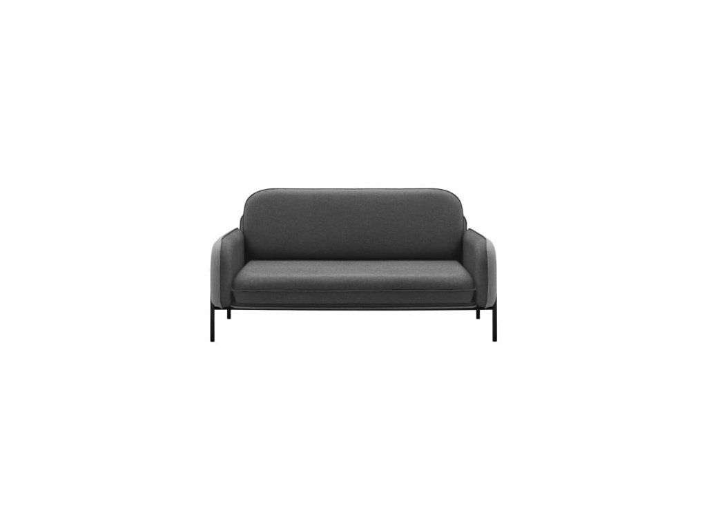 Tmavě šedá látková pohovka MARBET CORBU s černou podnoží