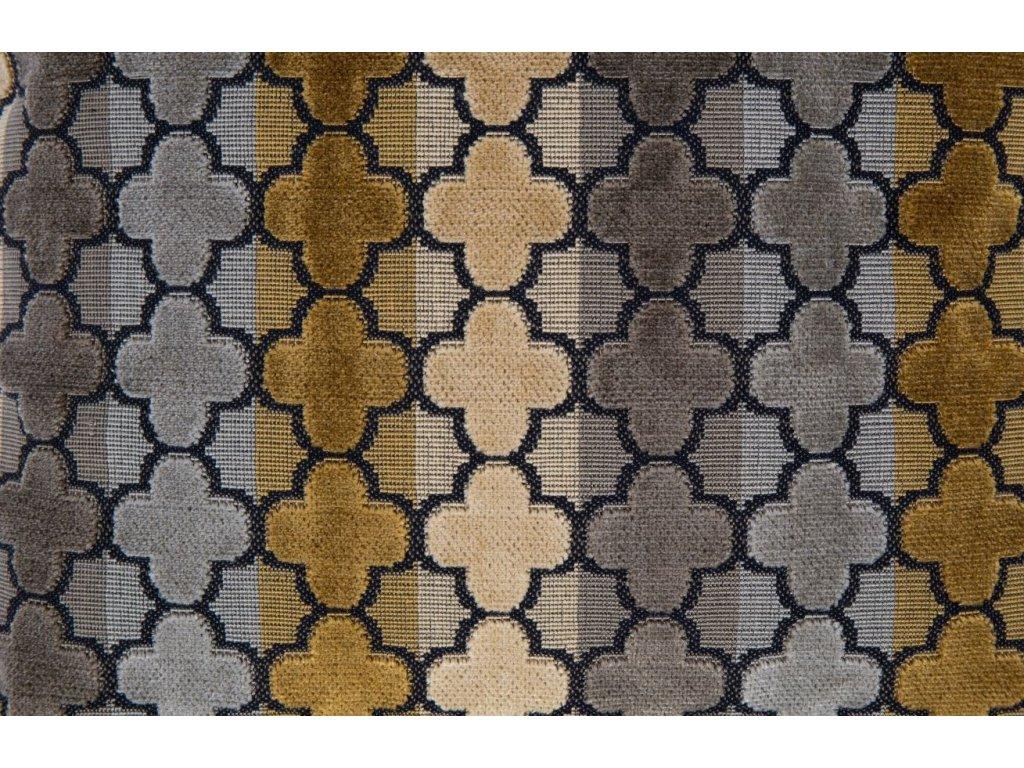 Hnědý polštář DUTCHBONE AUTUMN, klasický vzor, geometrické pruhy
