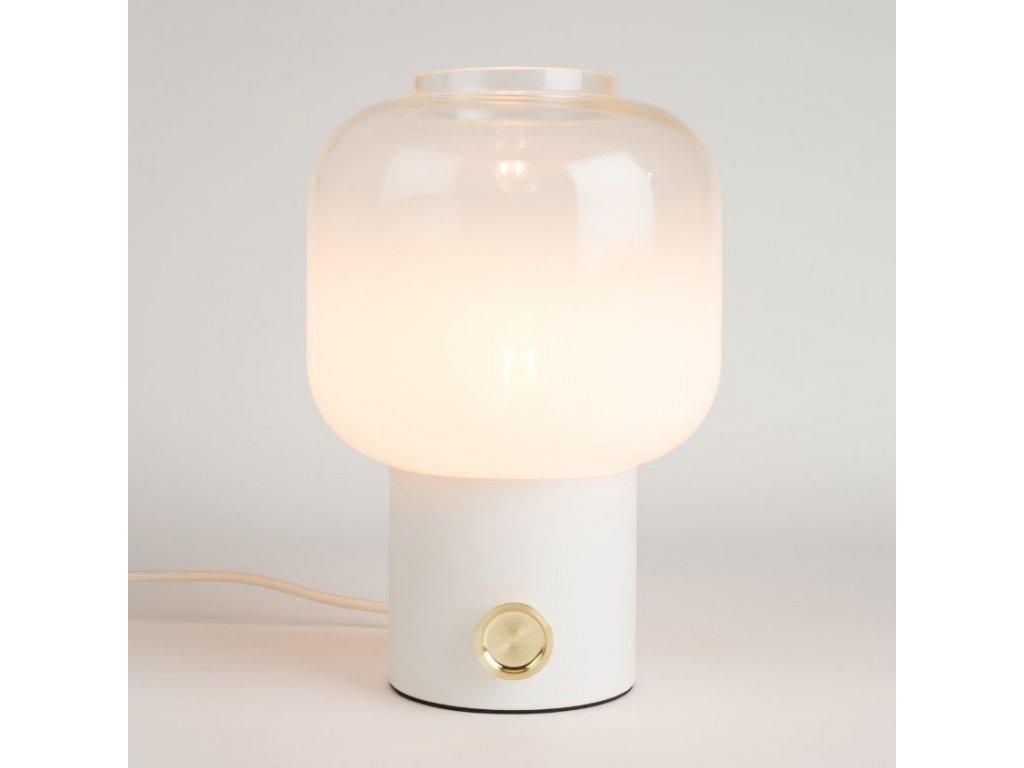 Bílá stolní lampa ZUIVER MOODY ombré sklo