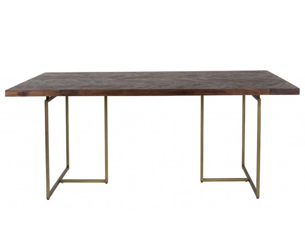 Masivní jídelní stůl DUTCHBONE CLASS 180x90 cm, akátová dýha, kovová podnož