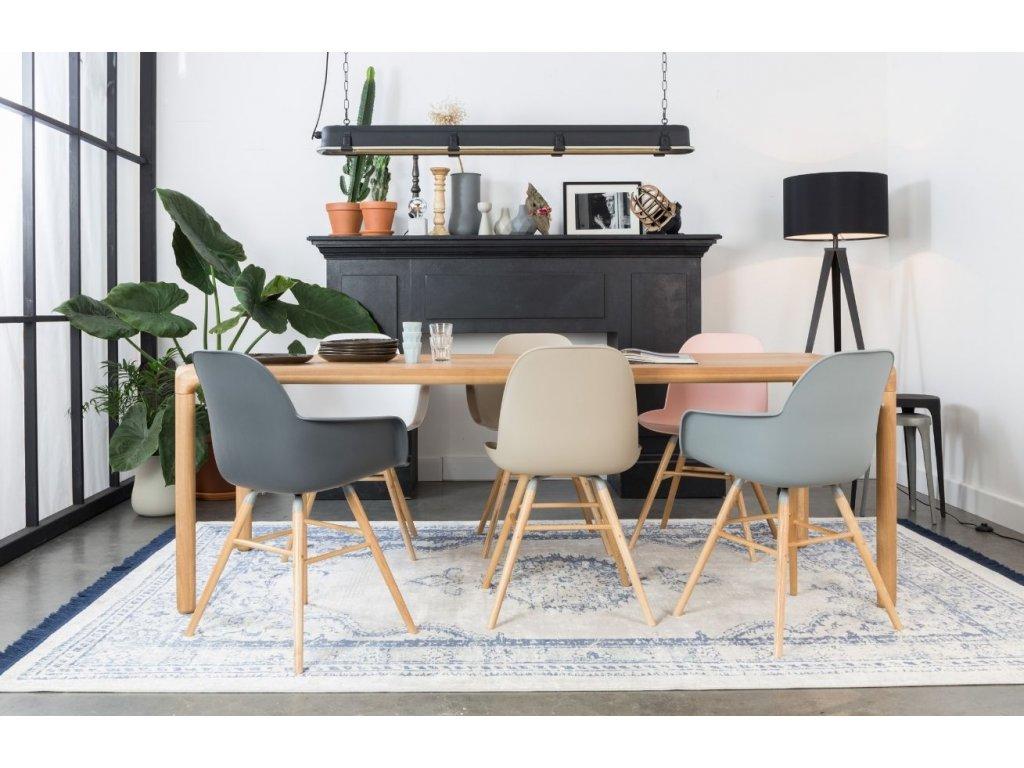 Růžová židle ZUIVER ALBERT KUIP, sedák propylen, jasanové podnože