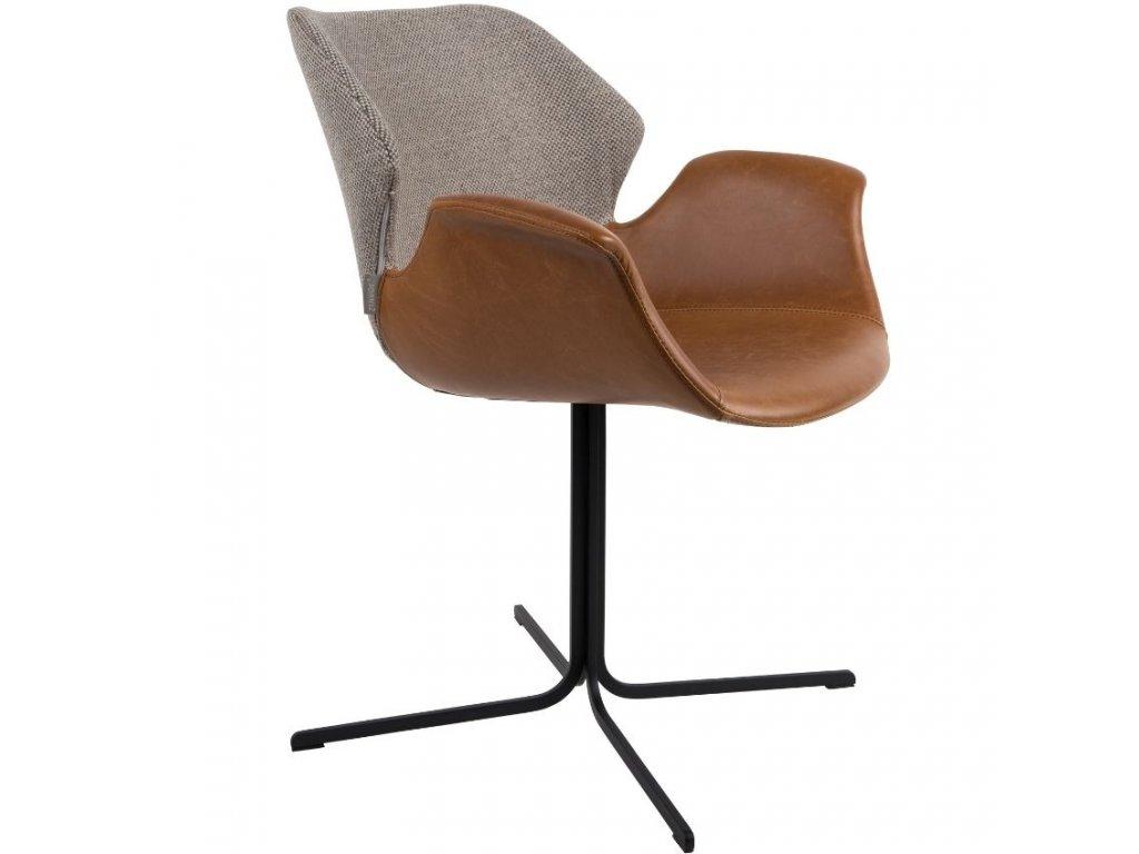 Jídelní židle ZUIVER NIKKI šedá látka hnědá ekokůže