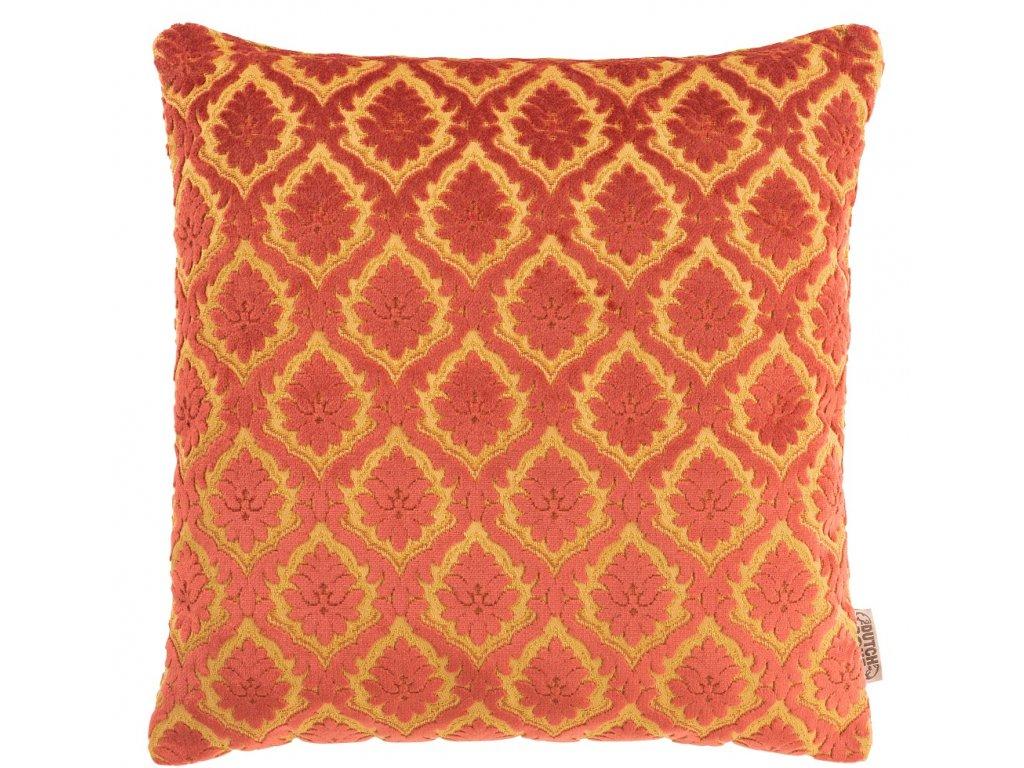 Červený polštář DUTCHBONE GLORY, zlatavě žlutý vzor, starožitné detaily