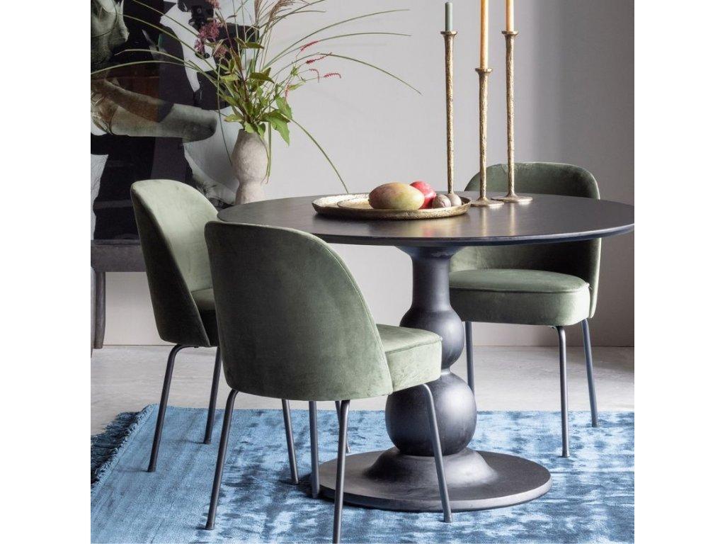 Zelená sametová židle Tergi