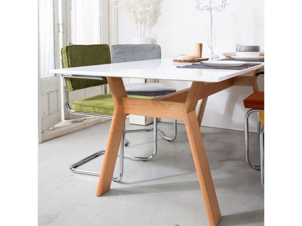 Světle šedá látková židle ZUIVER RIDGE KINK RIB s područkami