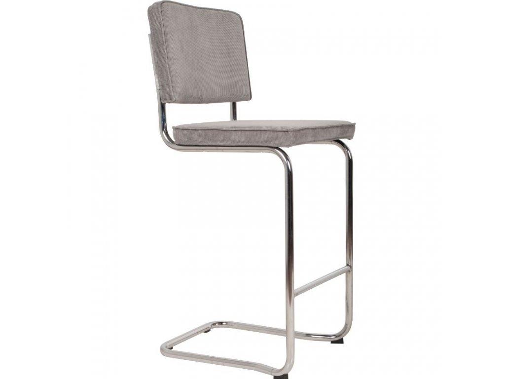 Světle šedá látková barová židle ZUIVER RIDGE KINK RIB 113 cm