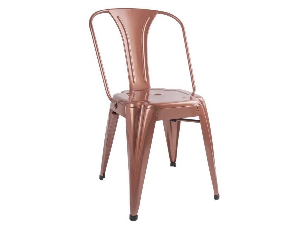 Měděná kovová jídelní židle Atago