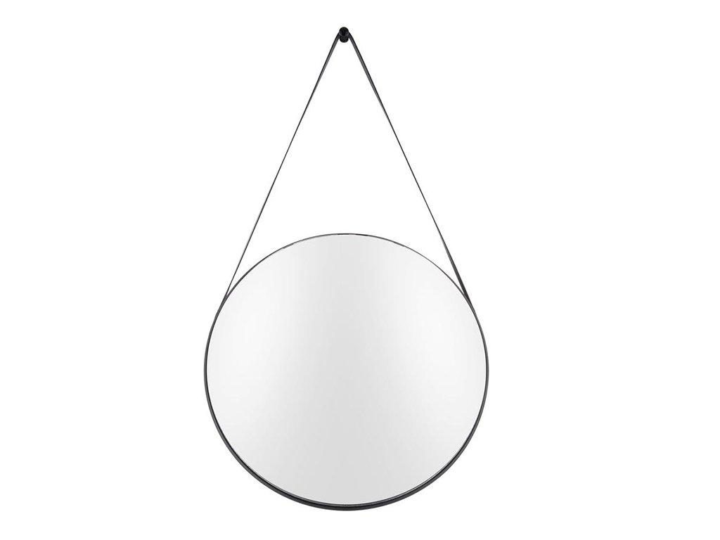 Kovové kulaté závěsné zrcadlo s koženým popruhem Grimo 47 cm, černá barva