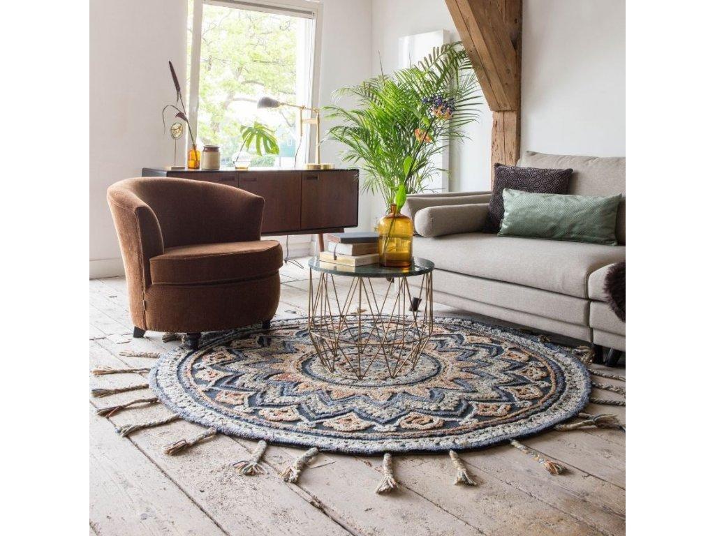 Pestrý koberec DUTCHBONE PIX O 170 cm, indický osobitý styl, ručne spletené střapce