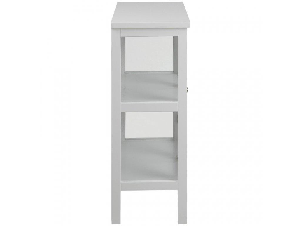 Bílá dřevěná skleněná vitrína Marion 99 cm