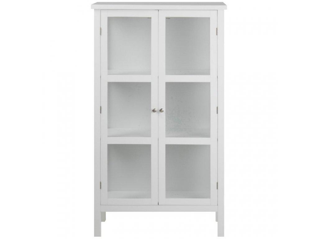 Bílá dřevěná vitrína Marion 136,5 cm