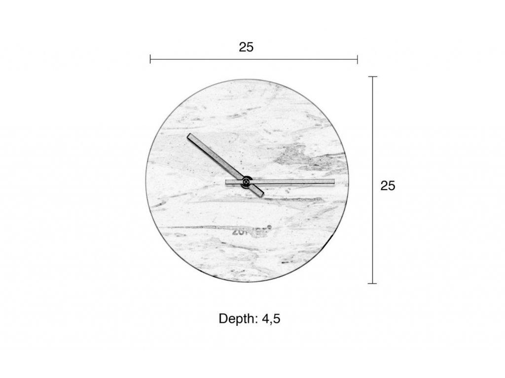Černé mramorové nástěnné hodiny Zuiver Marble Time v kombinaci se zlatými ručičkami