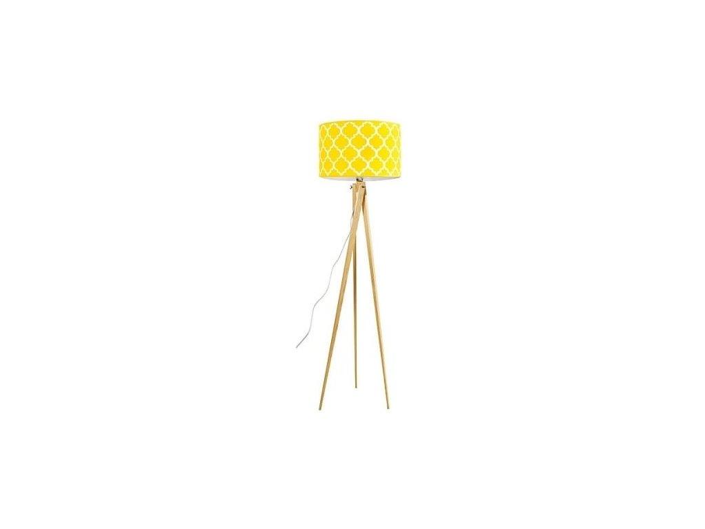 Stojací lampa LF 14, přírodní podnož, žlutá